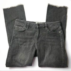 Free people raw hem straight leg gray denim jeans